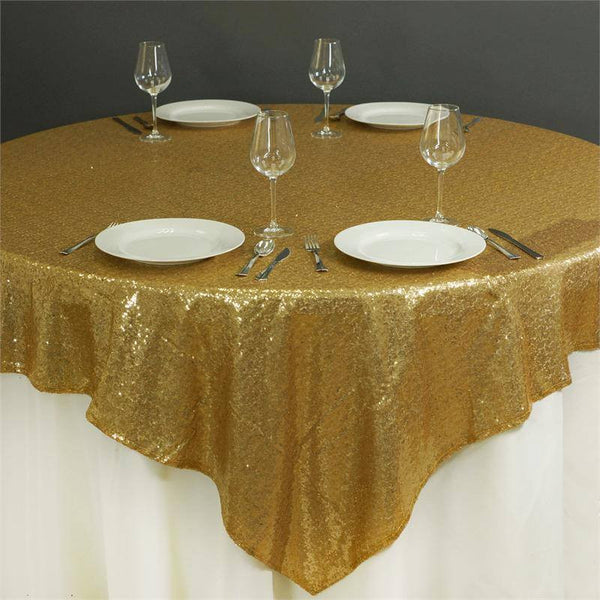 "72"" x 72"" Gold Sequin Square Overlay"