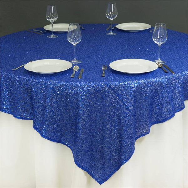 "72"" x 72"" Royal Blue Sequin Square Overlay"