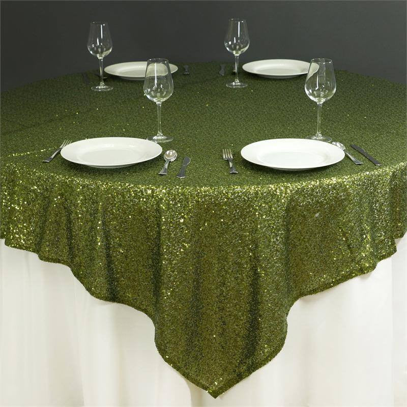 "LUXURY COLLECTION Duchess Sequin Overlay 72"" x 72"" - Moss / Willow"