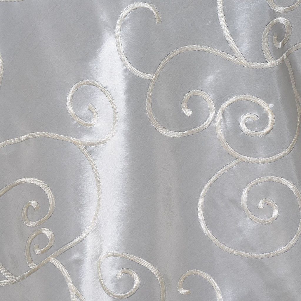 "Bienvenue Fancy Swirls Overlay 72"" x 72"" Taffeta w/ Embroider Ivory"