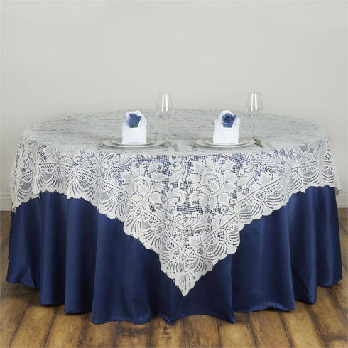 "72"" x 72"" JOLLY GOOD Lace Table Overlay - Ivory"