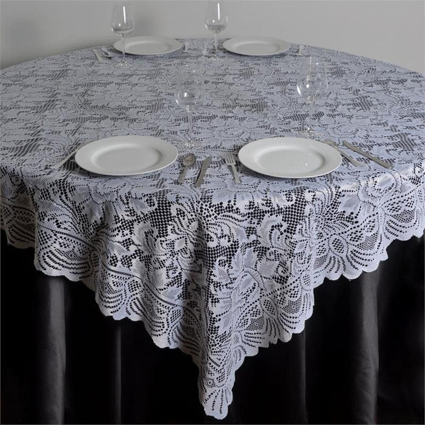 "90"" x 90"" Square White Lace Table Overlay"