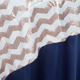 "72"" x 72"" ALLURING Sequin Chevron Table Overlays - Champagne / White"