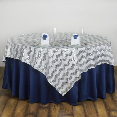 "72"" x 72"" ALLURING Sequin Chevron Table Overlays - Silver / White"