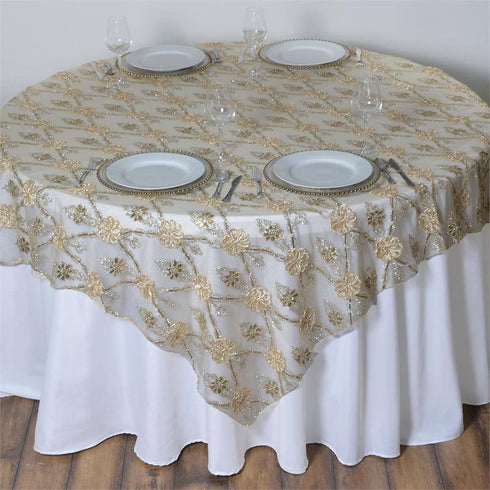 "72"" x 72"" Extravagant Fashionista Style Table Overlay - Champagne Lace Netting"