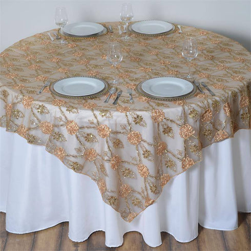 "72"" x 72"" Extravagant Fashionista Style Table Overlay - Gold Lace Netting"