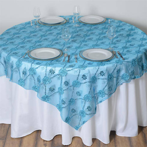 "72"" x 72"" Extravagant Fashionista Style Table Overlay - Turquoise Lace Netting"