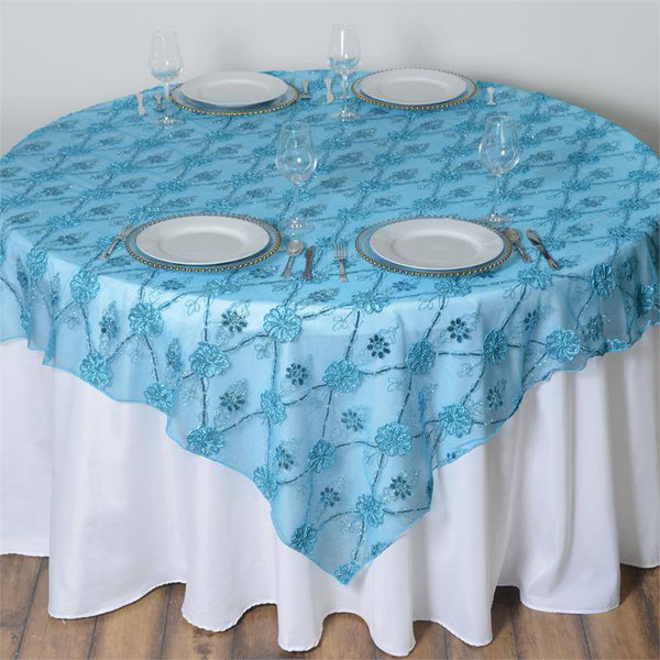 "72"" x 72"" Turquoise Lace Netting Extravagant Fashionista Style Table Overlay"