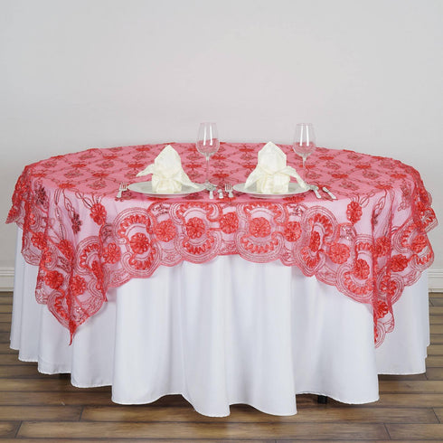 "72"" x 72"" The Fashionista Style Table Lace Overlay - Coral"
