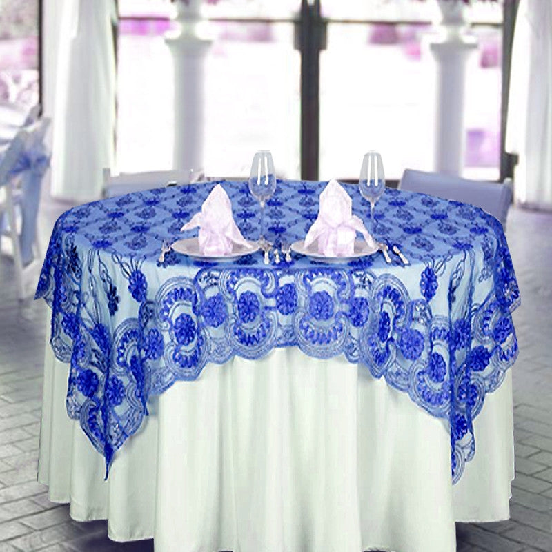 "72"" x 72"" The Fashionista Style Table Overlay - Royal Blue Lace Netting"