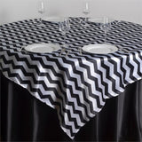 "72"" x 72"" Jazzed Up Chevron Overlays Black/White"