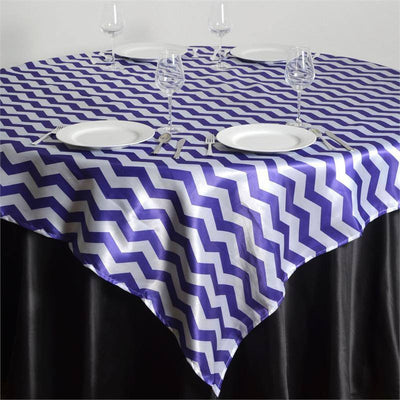 "72"" x 72"" Jazzed Up Chevron Overlays Purple/White"