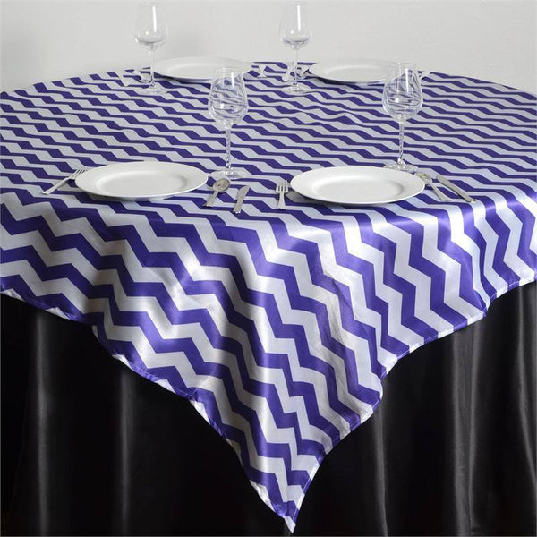 "72"" x 72"" White/Purple Jazzed Up Chevron Overlay"