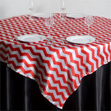 "72"" x 72"" Jazzed Up Chevron Overlays Red/White"