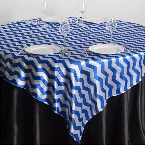 "72"" x 72"" Jazzed Up Chevron Overlays Royal Blue/White"