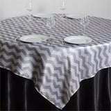 "72"" x 72"" Jazzed Up Chevron Overlays Silver/White"