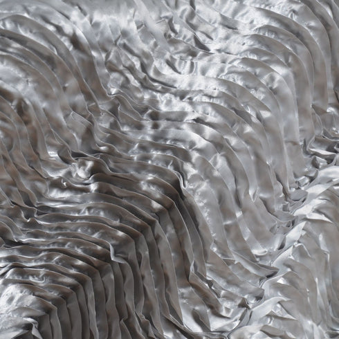 "72"" x 72"" Silver Waves Style Satin Square Overlay"