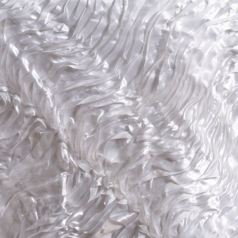 "72"" x 72"" White Waves Style Satin Square Overlay"