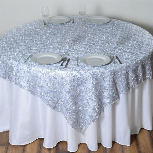 "72"" x 72"" COUTURE Tulle Satin Overlay Silver"