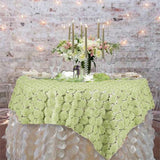 "72"" x 72"" COUTURE Blossoms on Lace Overlay w/ Sequins - Tea Green"