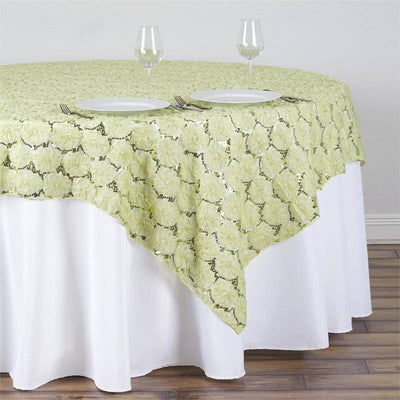 "72""x72"" Tea Green Lace Overlay with Sequin Design Party Wedding Table Decoration"