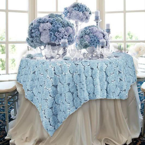 "72"" x 72"" Serenity Blue Satin Blossoms and Sequins on Lace Net Square Overlay"