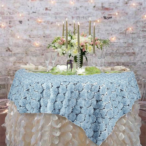 "72"" x 72"" COUTURE Blossoms on Lace Overlay w/ Sequins - Serenity Blue"