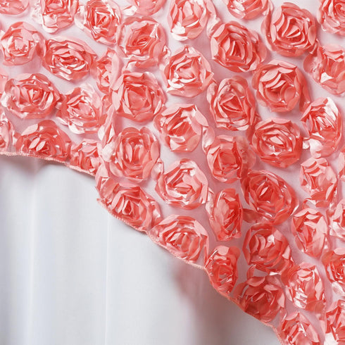 "72"" x 72"" COUTURE Rosettes on Lace Overlay - Rose Quartz"