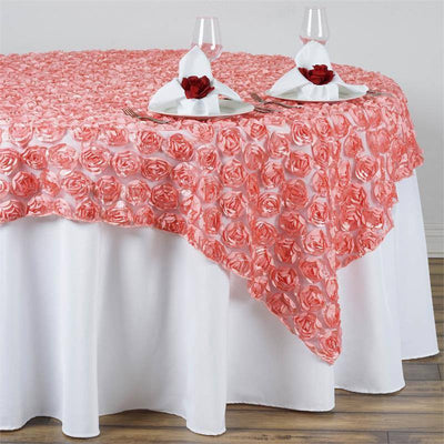 "72""x72"" Rose Quartz Lace Overlay with Rosette Flowers For Party Wedding Table Decoration"