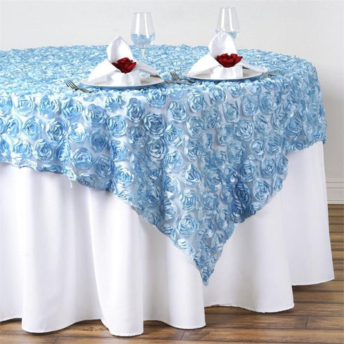 "72"" x 72"" COUTURE Rosettes on Lace Overlay - Serenity Blue"