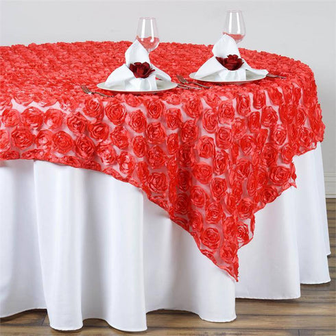 "72""x72"" Coral Lace Overlay with Rosette Flowers For Party Wedding Table Decoration"