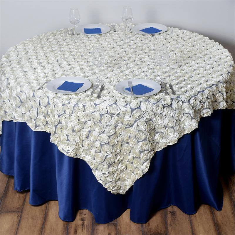 "72"" x 72"" COUTURE Rosettes on Lace Overlay Ivory"