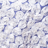 "72"" x 72"" COUTURE Rosettes on Lace Overlay White"