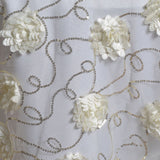 "72"" x 72"" Field of Fiores & Sequins Overlay Ivory"