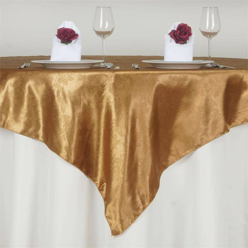 "Adoringly Adorned Satin Lily Overlay 72"" x 72"" - Gold"