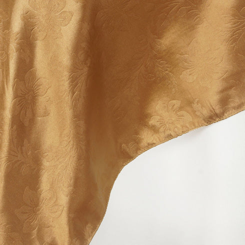 "72"" x 72"" Gold Adoringly Adorned Satin Lily Overlay"