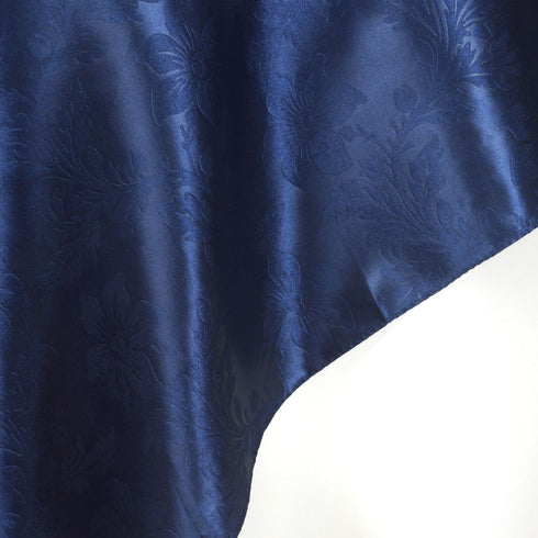 "Adoringly Adorned Satin Lily Overlay 72"" x 72"" - Navy Blue"