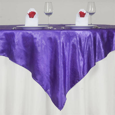 "Adoringly Adorned Satin Lily Overlay 72"" x 72"" - Purple"