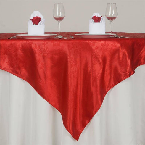 "Adoringly Adorned Satin Lily Overlay 72"" x 72"" - Red"