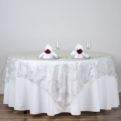 "72""x72"" White Sheer Organza Overlay with Peony Design For Wedding Catering Party Table Decorations"