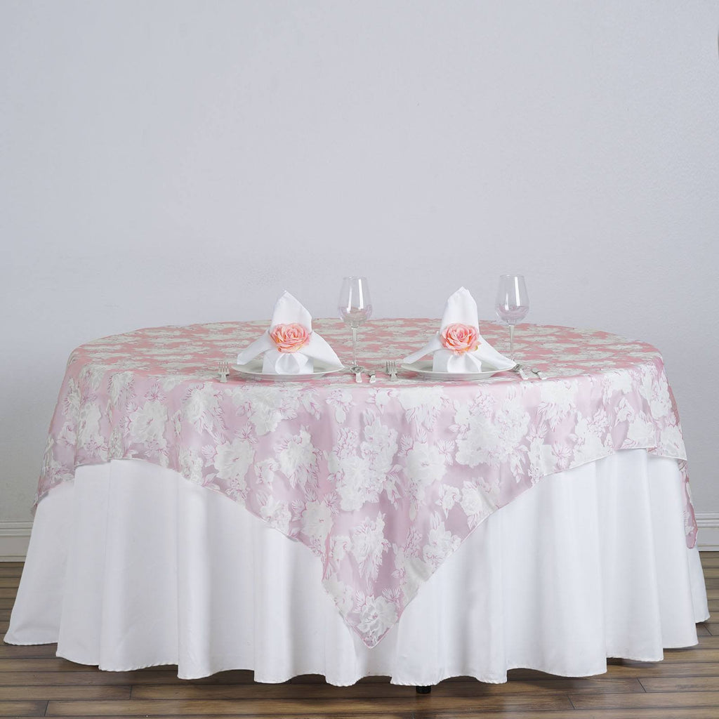 "72""x72"" Pink Sheer Organza Overlay with Floral Design For Wedding Catering Party Table Decorations"