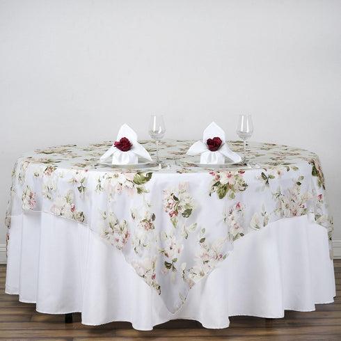 "72""x72"" White Sheer Organza Overlay with Blush Roses Design For Wedding Catering Party Table Decorations"