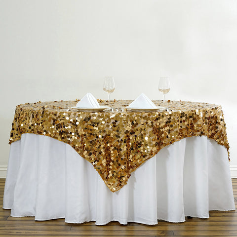 "72"" Premium Big Payette Sequin Overlay For Wedding Banquet Catering Party Table Decorations - Gold  (Sold Out Until 2017-06-27)"