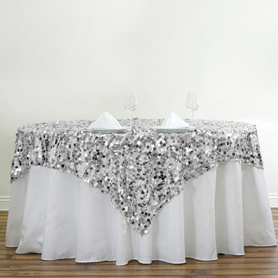 "72"" Premium Big Payette Sequin Overlay For Wedding Banquet Catering Party Table Decorations - Silver"