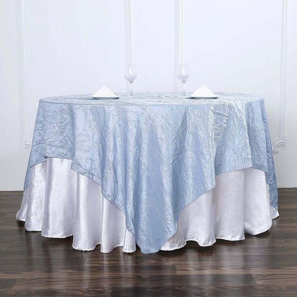 "72""x72"" Dusty Blue Crinkle Crushed Taffeta Square Overlay"