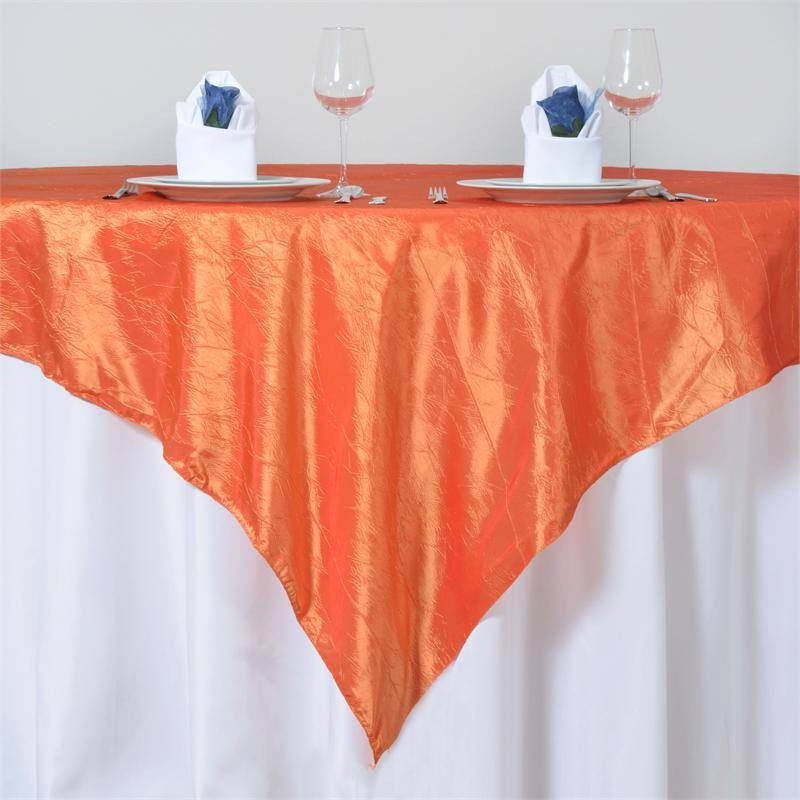 "Orange Taffeta Crinkle Overlay 72""x72"""