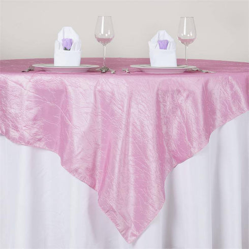 "72"" x 72"" Pink Crinkle Crushed Taffeta Square Overlay"