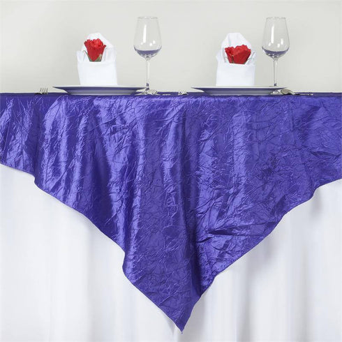 "72"" x 72"" Purple Crinkle Crushed Taffeta Square Overlay"