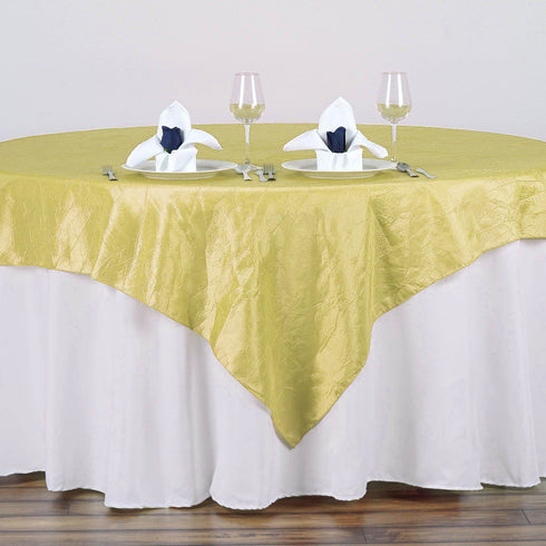 "72"" x 72"" Yellow Crinkle Crushed Taffeta Square Overlay"