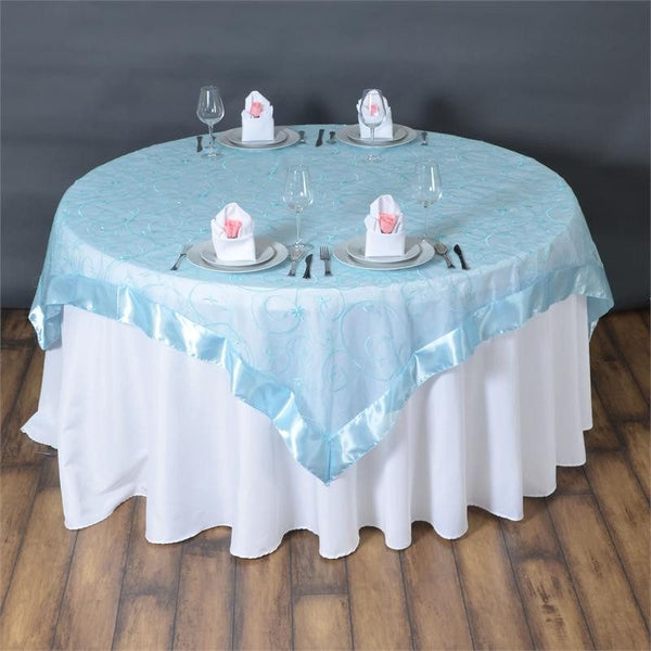 "72"" x 72"" Light Blue Satin Edge Embroidered Sheer Organza Square Table Overlay"